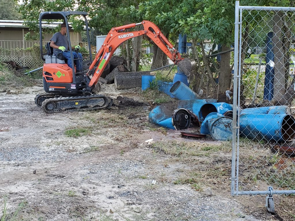Small excavator for demolition.
