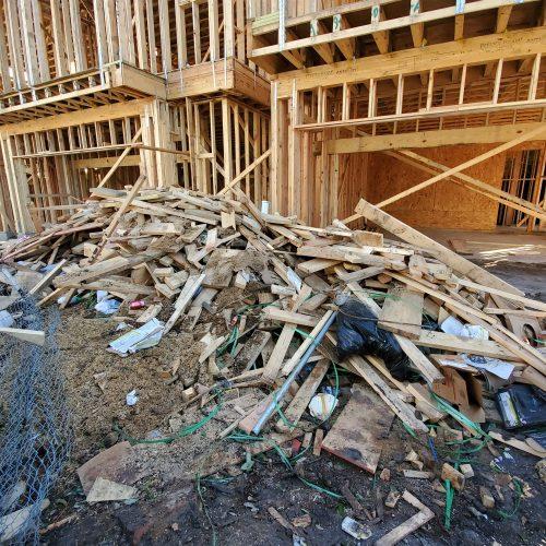 Debris left from a construction site.